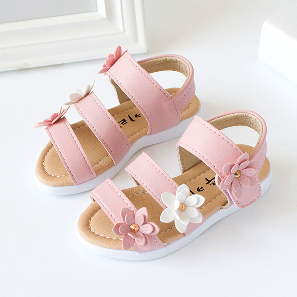 8930798ca46b71 2018 Summer Style Children Sandals Girls Princess Beautiful Big Flower  Shoes Kids baby Flat Sandals Baby Girls Roman beach Shoes-in Sandals from  Mother ...