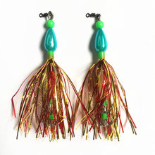 10Pcs Luminous Fishing Lure Squid Jigs Double Hook Skirt Jig Artificial Spinner Beard Fishing Tackle(China)