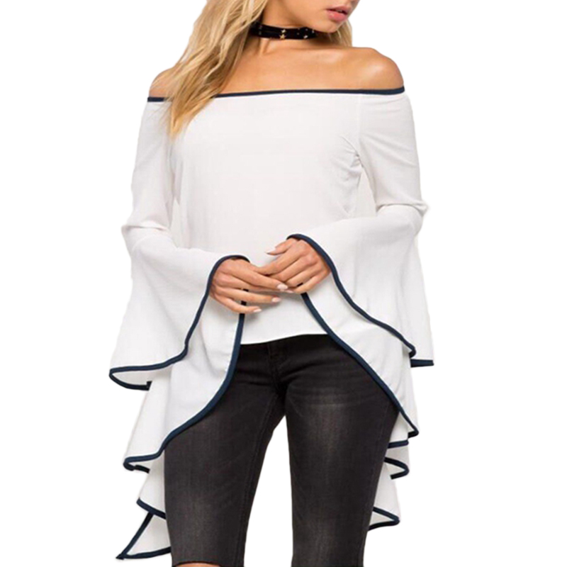 Hot Fashion Women Retro Off Shoulder Flare Sleeve White   Blouse     Shirt   Ladies Casual Clothes Cropped Top