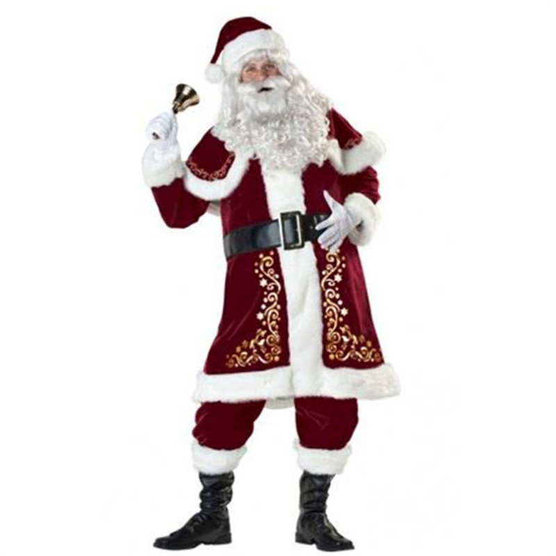 2018 high quality Man's Santa Claus Costume Deluxe Velvet Christmas XMAS Cosplay Fancy Dress  Free Delivery