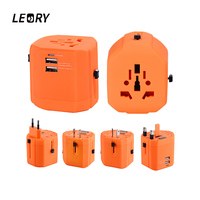LEORY All In One Universal Travel Adapter 5V 2 1A 2500MA 2 USB Port EU US