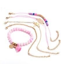 5 PCS/Set Boho Pineapple Heart Coconut Multilayer Bracelets for Women Pink Stone Hollow Pendant Tassel Bangle Cuff Jewelry