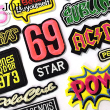 JOD Badge Digital Letter Thermo-adhesive Embroidery Iron on Patches for Clothing Coat Hot Pop Stickers Applications Cloth