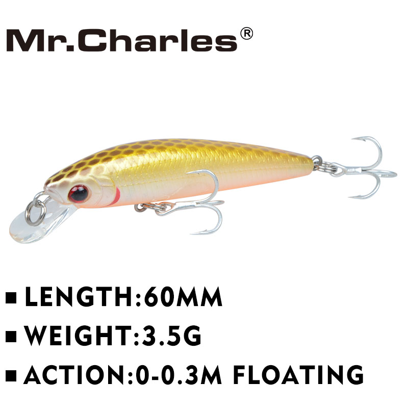 Mr.Charles CMC029 Fishing Lure 60mm/3.5g 0-0.3m Floating Shad Quality Professional Minnow Hard Baits 3D Eyes Simulated