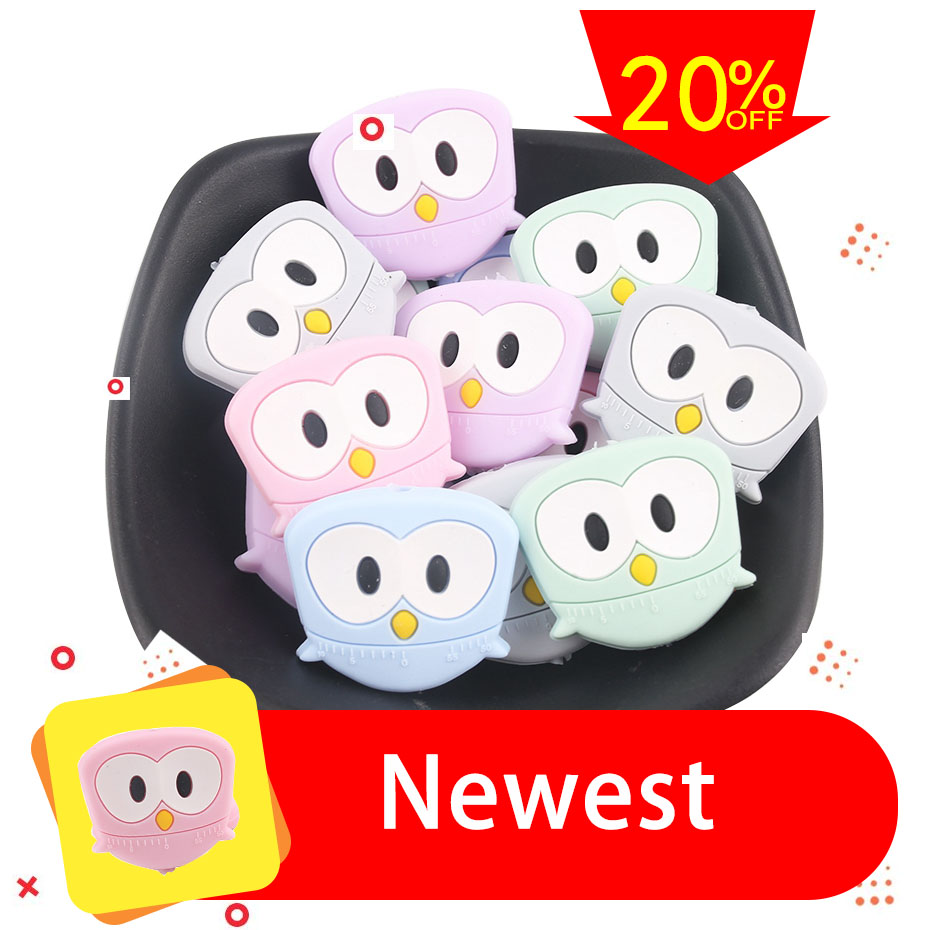 Let's Make 5pcs Silicone Teething Beads Owl Cartoon Baby Toys Cartoon Angry Of Bird DIY Pacifier Clips BPA Free Baby Teethers