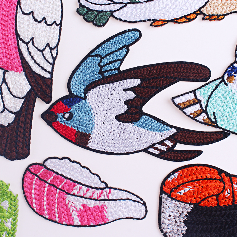 Prajna Cartoon Animal Patch Embroidered Patches For Clothing Iron On Patches On Clothes Stripe Applique DIY Japanese Style Badge in Patches from Home Garden