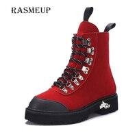 RASMEUP England Genuine Leather Women Winter Ankle Boots Waterproof Winter Woman Plush Warm Boots Women S