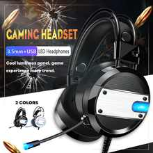 3.5mm Gaming Headset MIC LED Headphones Surround LED Lights E-sports Mic Stereo Earphones Deep Bass for PC Computer Gamer Laptop(China)