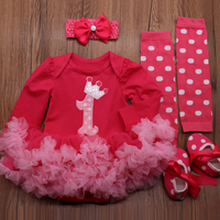 Little Girl Crown Tutu Dress for Baby Kids First Birthday Party Gift Dresses Hot pink Minnie Mickey Print Girls Infantil Vestido