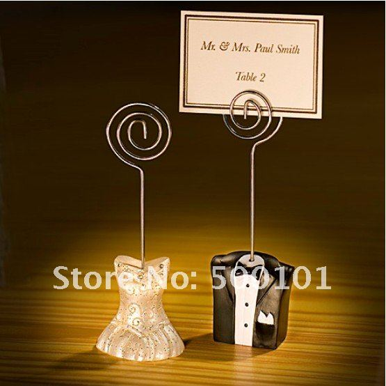 200pcs/lot (100 pcsbride+100pcs groom )wedding favor gift party decoration place card/photo holder Free Shipping