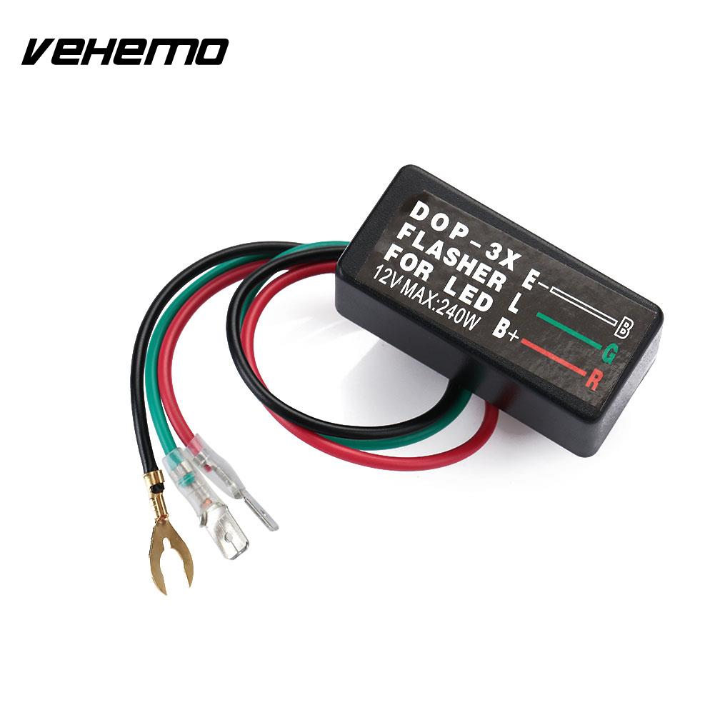 Vehemo LED Electronic Flasher Relay Turn Signal Light Motorcycle Motorbike Accessories