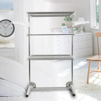 3/4 Layers Stainless Steel Foldable Clothes Drying Rack Household Movable Clothes Dryer with Suspension Arms HWC