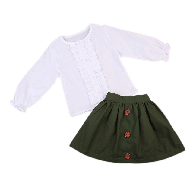 efecdb9bd9 Elegant Style Princess Infant Girls Linen blouse Tops + army Green pleated Skirt  Long Sleeve Kid Girl Clothes UK 1-5Y