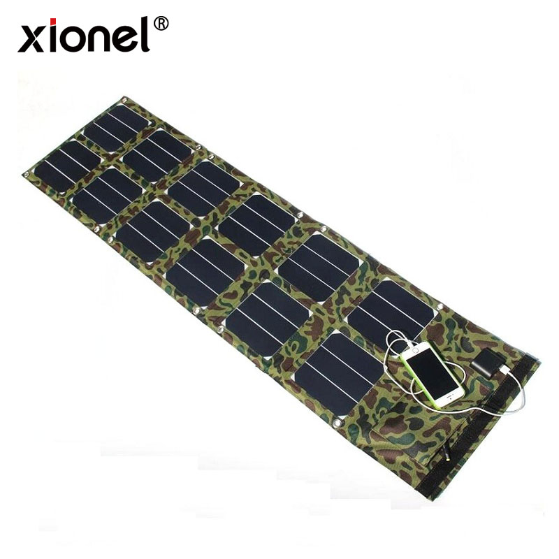 Xionel 40W Sunpower Solar Panel Charger USB5V&DC18V Output For 12V Battery Charger Mobile Phones and Laptop