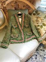 Kenvy высокого класса люксовый бренд Модные женские винтажные стенд зеленый тонкий шерстяной Короткая куртка, пальто