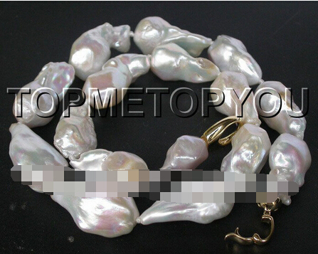 Free shipping >>@ 1512 CRAZY Luster 28mm natural white Reborn Keshi pearls necklace
