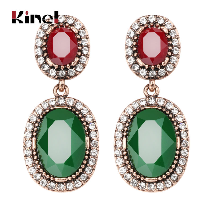 Considerate Kinel Boho Jewelry For Women Drop Earings With Stones Antique Gold Green Resin White Rhinestones Oval Big Earrings Drop Shipping Famous For High Quality Raw Materials Full Range Of Specifications And Sizes And Great Variety Of Designs And Col