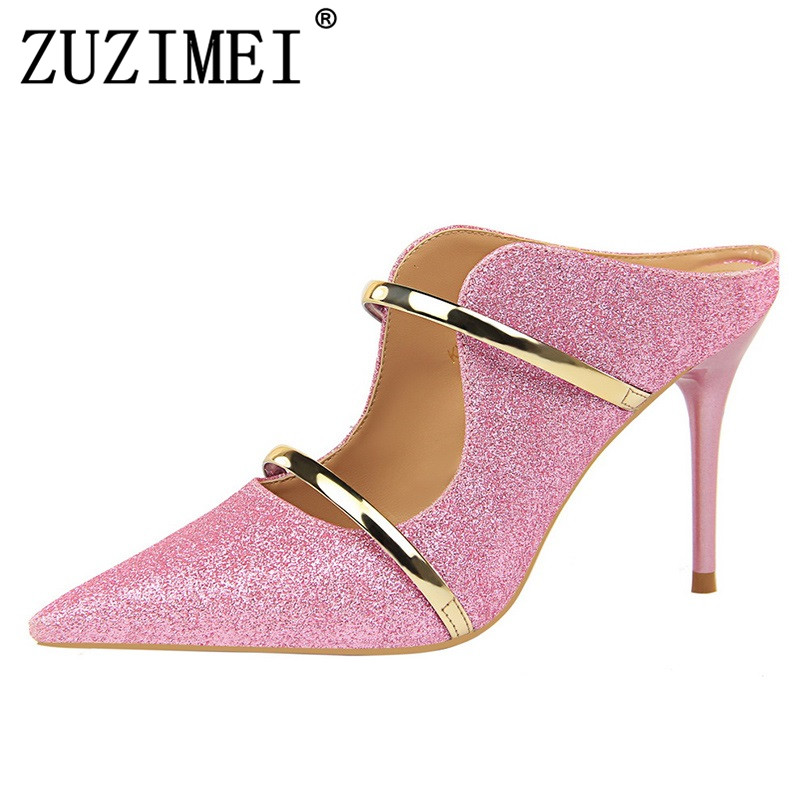 Women Summer 9cm High Heels Glitter Sandals Lady Bling Mules Slingback Sliver Pumps Female Footwear Gold Pink Bridal Shoes