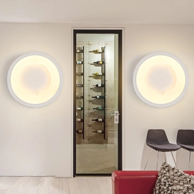 Simple Art Modern LED Wall Light Fixtures For Home Indoor Lighting Acrylic Round Wall Sconces Bedside wall Lamps Lampara Pared 2 lights modern creative metal wall light simple glass shade wall sconces fixtures lighting for hallway bedroom bedside wl282 2
