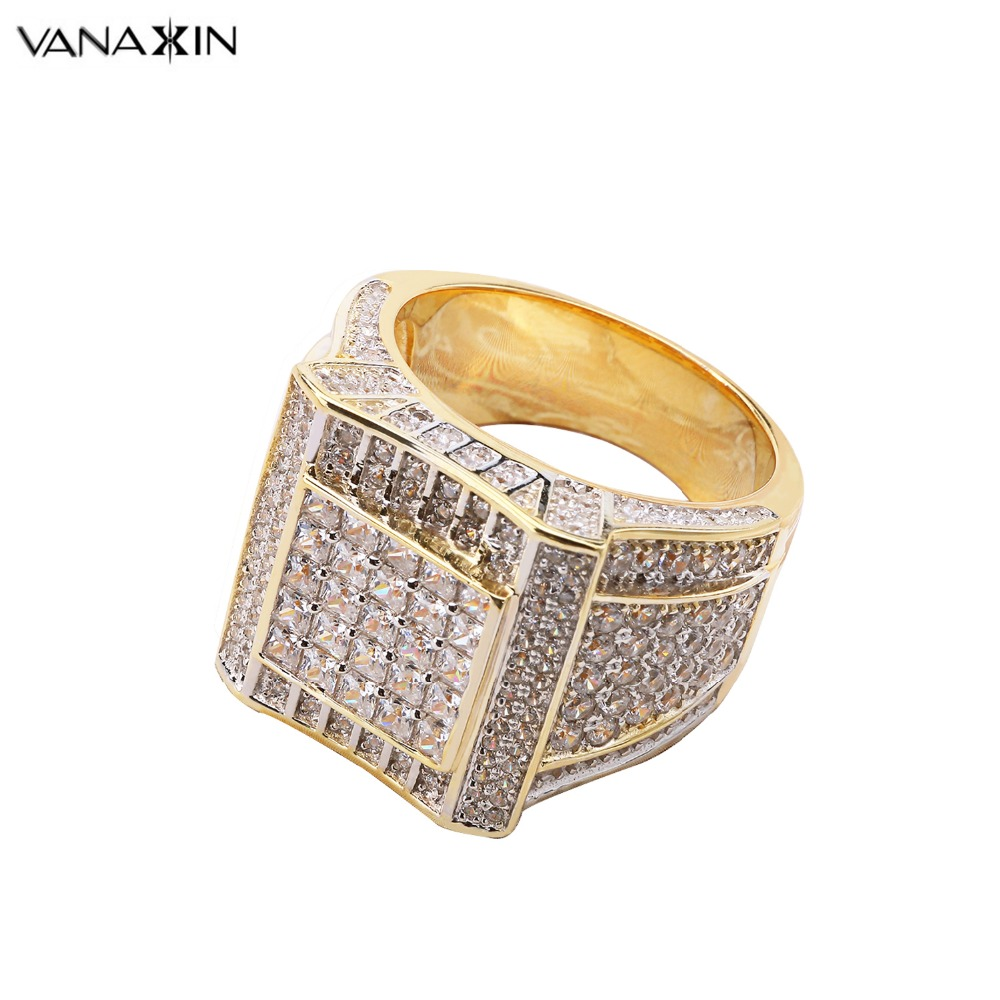 VANAXIN 925 Sterling Silver Rings Gold Color Hip Hop Iced AAA Cubic Zirconia Luxury Ring Mens