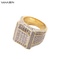 VANAXIN 925 Sterling Silver Rings Gold Color Hip Hop Iced AAA Cubic Zirconia Luxury Ring Mens Fashion Finger Bling Bling Jewelry