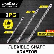 HORUSDY Flexible Socket Extension Bar Shaft Bits Screwdriver Universal Socket Driver Adapter Hex Drill Bit Turning 1/2 1/4 3/8 3pcs 1 2 3 8 1 4 sds drill bits socket nut driver adapter mini drill bit chuck for sds plus hammer drills