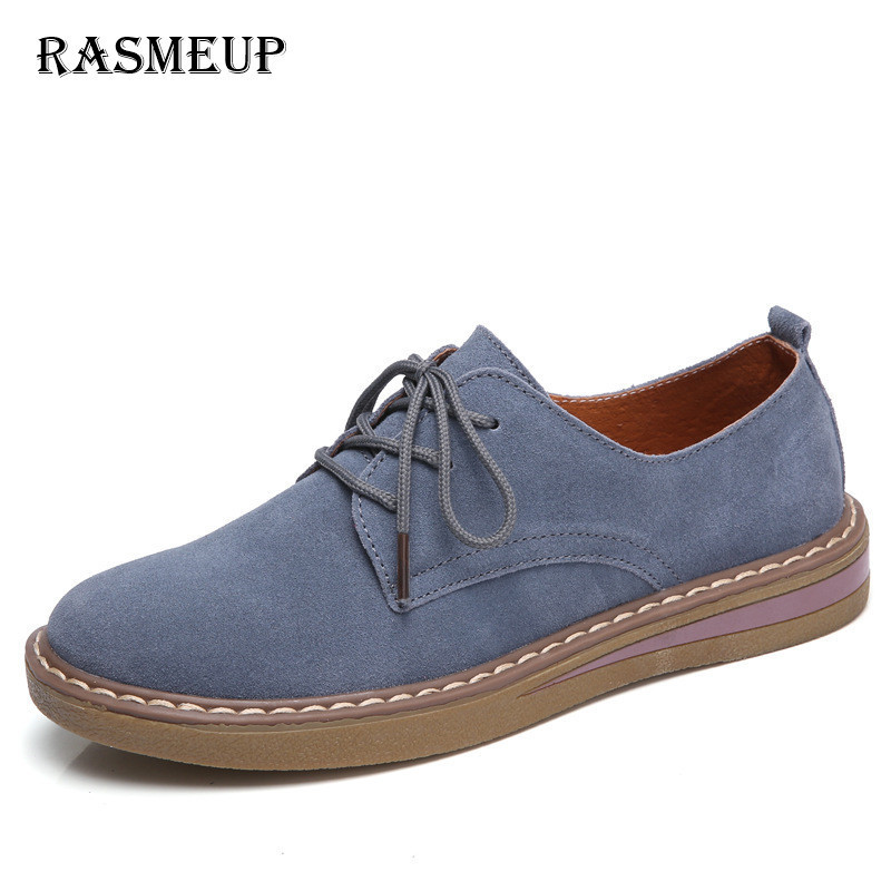 RASMEUP Genuine Suede Leather Women's Oxford Shoes 2018 Spring Women Lace Up Flat Sneakers Woman Boat Flats Moccasins Shoes girls fashion punk shoes woman spring flats footwear lace up oxford women gold silver loafers boat shoes big size 35 43 s 18