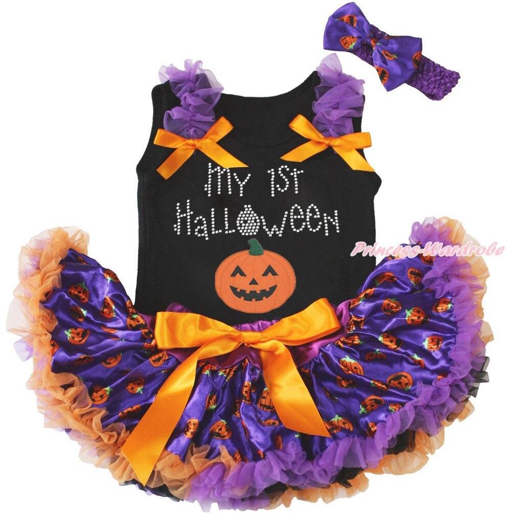 My 1ST Halloween Black Top Shirt Pumpkin Girls Baby Skirt Outfit Set 3-12Month MAPSA0836 0 12month baby girls
