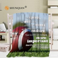 Custom Football Blanket Manta Fleece Blanket Sofa Bed Plane Travel Plaids Bedding Set 58x80inch 50X60inch 40X50inch