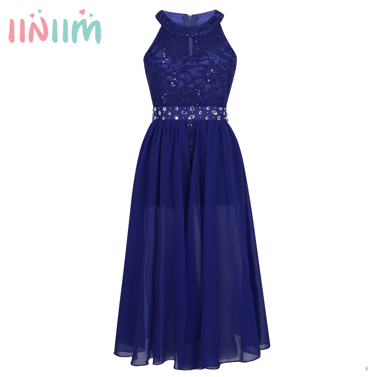 Elegant Girls Clothing Sleeveless Floral Lace Rhinestone Maxi Romper Dress School Dance Performance Dress for Birthday Party цена