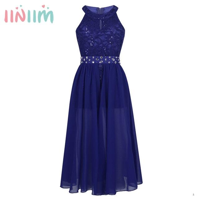Elegant Girls Clothing Sleeveless Floral Lace Rhinestone Maxi Romper Dress  School Dance Performance Dress for Birthday Party 28df4b088351