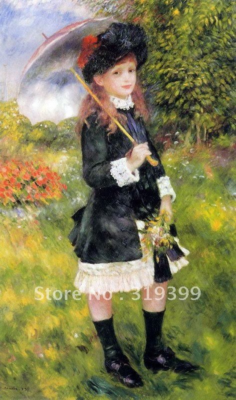 Oil Painting Reproduction on linen canvas,young girl with a parasol by pierre auguste renoir, Free DHL Shipping,handmadeOil Painting Reproduction on linen canvas,young girl with a parasol by pierre auguste renoir, Free DHL Shipping,handmade
