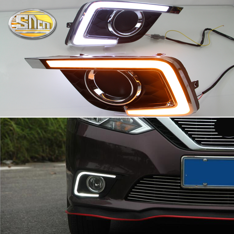 For Nissan Sentra 2016 2017 2018,Yellow Signal Function Relay Waterproof 12V Car DRL LED Daytime Running Light SNCN for suzuki vitara brezza 2015 2016 2017 yellow turn signal function waterproof car drl lamp 12v led daytime running light sncn
