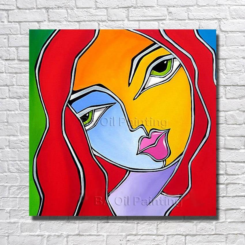 Dibujos Animados Abstracto Pintado A Mano Puro Mujeres Pintura Al