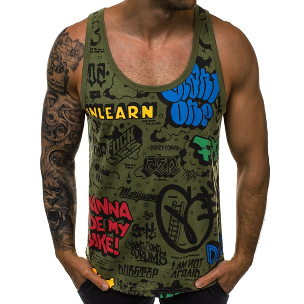 2019 New Men's Shirt Vest Letter Summer Casual Camouflage Print   Tops   Sleeveless Fit Slim   Tank     Top   For Male Casual Fitness   tank