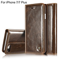 Luxury Coque For Flip Cover Apple iPhone 7 Case Genuine Real Leather Wallet Original Brand Phone Case For iPhone 7 Plus Retro