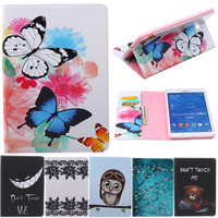 Butterfly Owl Cartoon PU Leather Flip Stand Cover Cases For Samsung Galaxy Tab 4 8 0