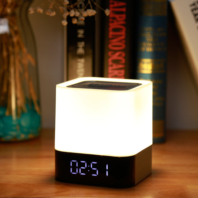 MUSKY DY28 5W Digital Alarm Clock Wireless Touch LED Night Light Bluetooth Speaker LED Colorful Night Lamp Support USB/TF Card