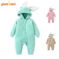 Pureborn Baby Rompers Baby Clothes Newborn Baby Girls Clothing Coat Rabbit Ear Overalls Children S Winter