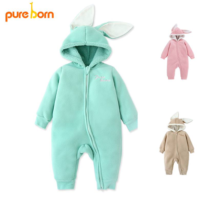 Pureborn Baby Rompers Baby Clothes Newborn Baby Girls Clothing Coat Rabbit Ear Overalls Children's Winter Jackets Christmas gift baby clothes baby rompers winter christmas costumes for boys girl zipper rabbit ear newborn overalls jumpsuit children outerwear
