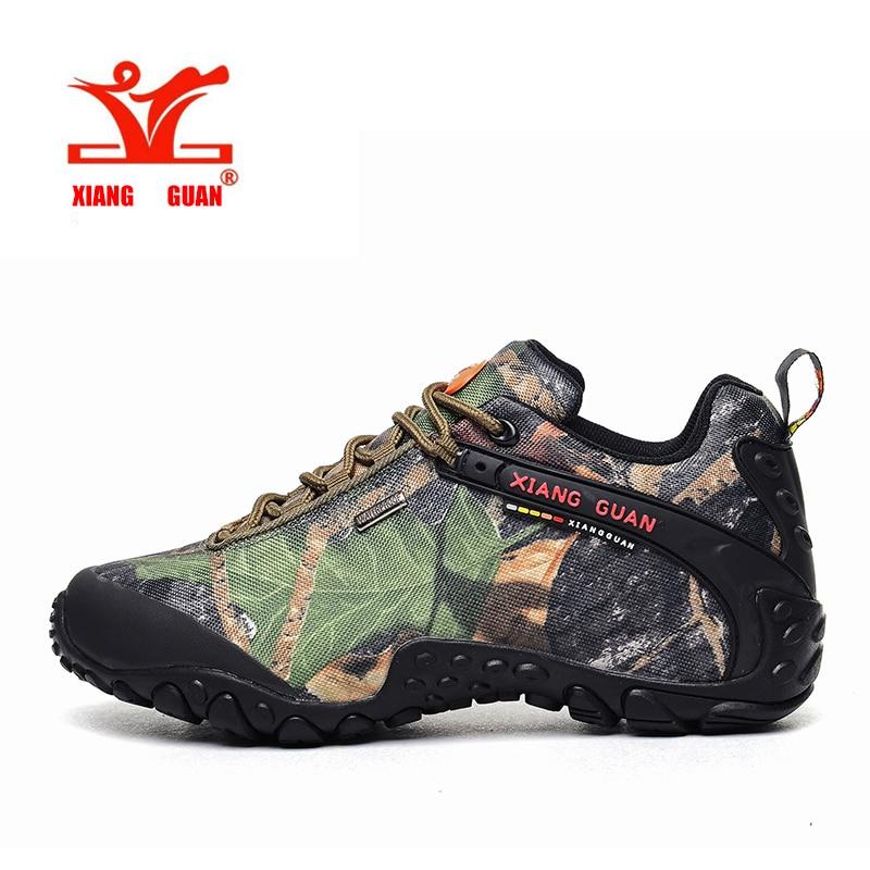 ФОТО XIANGGUAN Waterproof Hiking Shoes Men Camo Climbing Sneaker Women Camouflage Boot Plus Big Size Euro 46 47 48 Us 12 13 14 15