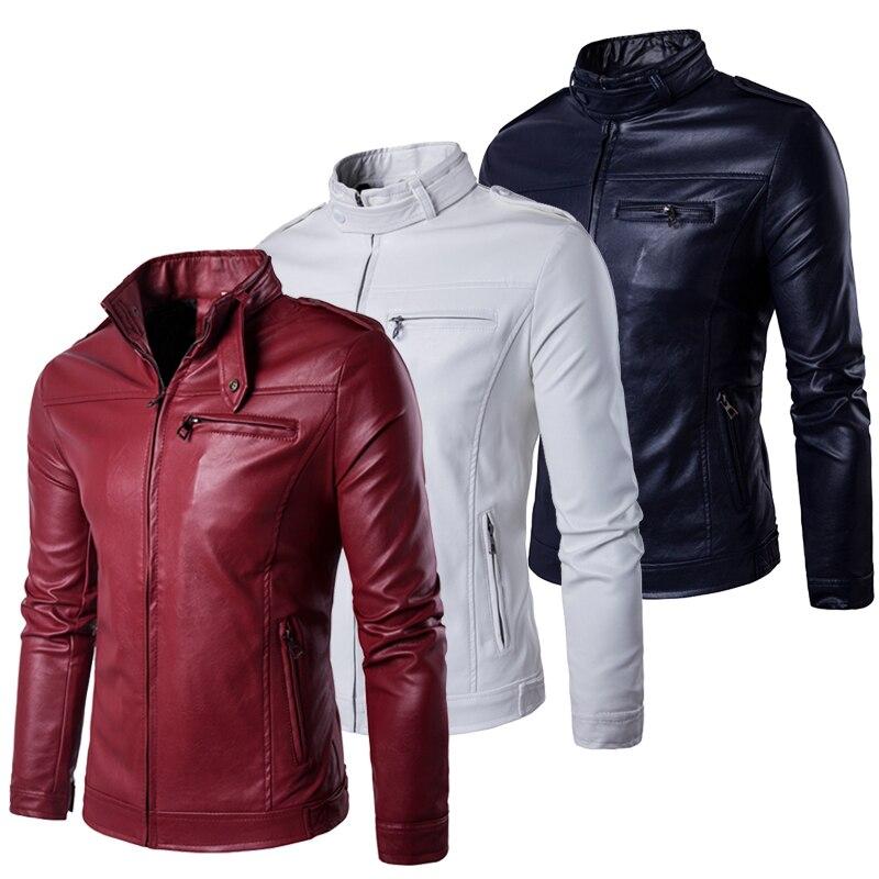 Grey Brown Black Navy Burgundy Red White Spring Leather Jacket Men Plus Size 5xl Soft Pu Mandarin Collar Zipper Up Design Good Taste