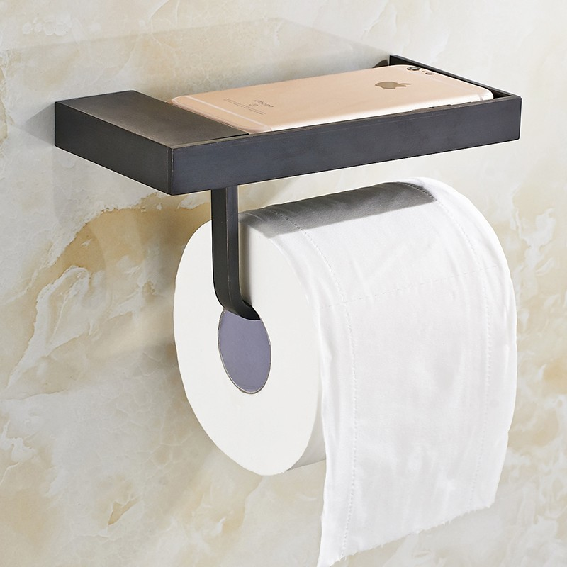 Charmant Modern New Wall Mounted Bathroom Oil Rubbed Bronze Toilet Paper Holder  Storage Shelf Mobile Phone Rack