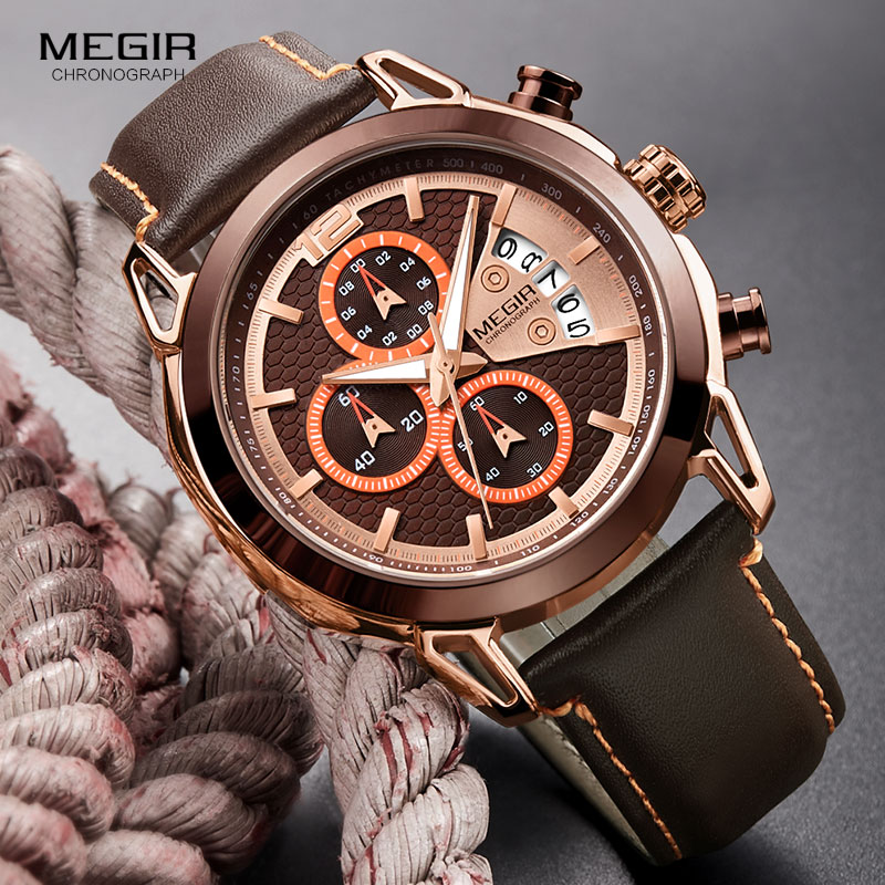 MEGIR 2018 Hot Quartz Man horloge echt lederen band horloge Awesome - Herenhorloges