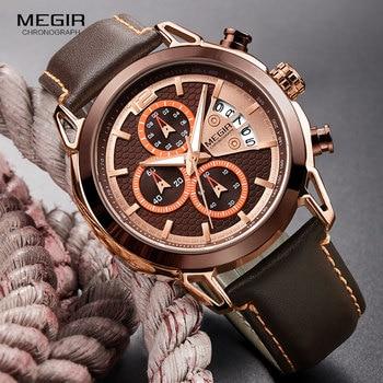 MEGIR 2018 Hot Quartz Man Watch Genuine Leather Strap Wristwatch Awesome Analog Gifts Watches With Calendar Sub-dial Wrist Watch