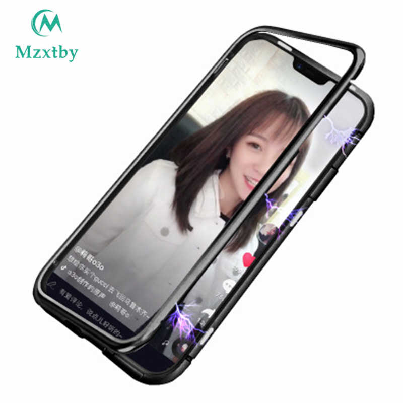 Mzxtby Magnetic Case Front+Back double-side 9H Tempered Glass Case For Samsung A30 50 60 70 80 A7 A9 Metal Bumper Fitted Case