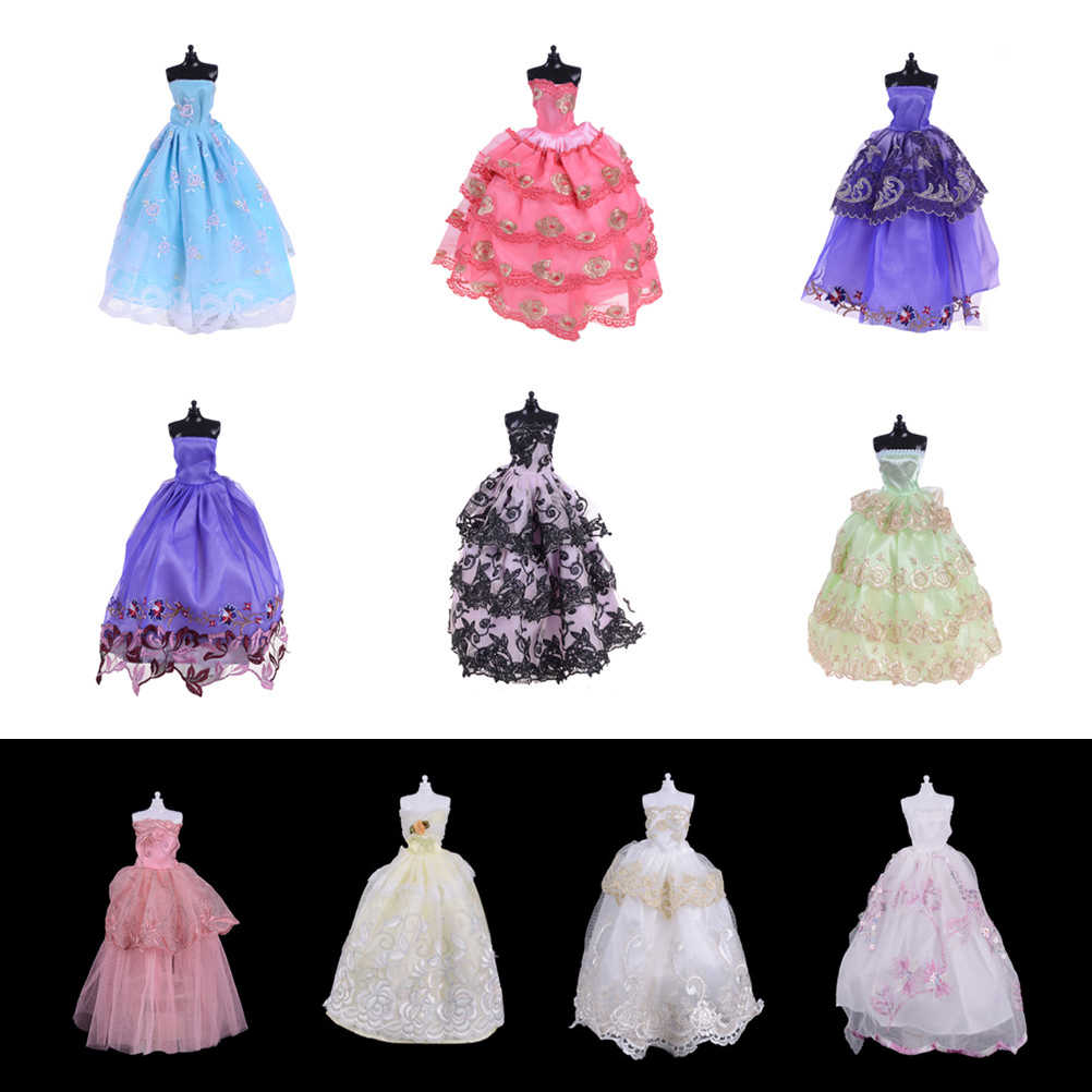 1pcs Dolls Wedding Dress Party Gown Princess Cute Outfit Clothes For Doll Girls' Gift Dolls Accessories Color Randomly