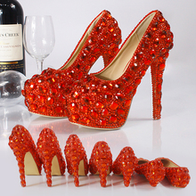 Red crystal shoes high-heeled shoes 2017 New Wedding Princess party shoes with thick waterproof think heel diamond shoes female