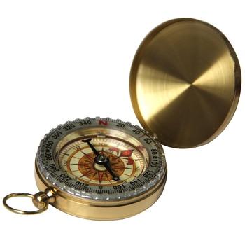 Mini Outdoor Camping Portable Folding Hiking Navigation Pocket Compass Brass Military Army Climbing Hunting Tool Keychain Kompas 1