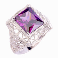 2015  Retro Style Unisex Rings New Fashion Jewelry Purple Amethyst 925 Silver Ring Size 6 7 8 9 10 Free Shipping Wholesale